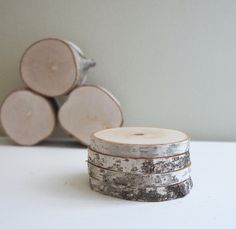 natural white birch wood coaster  set of 4 by urbanplusforest, $24.00
