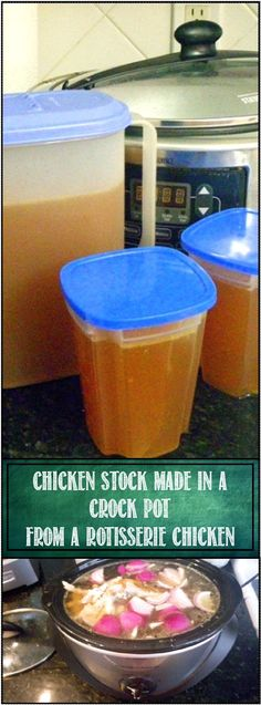 Chicken Stock made in a Crock Pot from a Rotisserie Chicken. Deep Rich Flavorful…