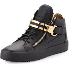 Giuseppe Zanotti Men's Leather Mid-Top Sneaker w/Double-Bar Strap ($895) ❤ liked on Polyvore featuring men's fashion, men's shoes, men's sneakers, shoes, sneakers, men's wear, black, mens velcro strap sneakers, mens black sneakers and mens leather shoes