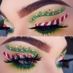 Creative And Gorgeous Christmas Makeup Ideas For The Big Holiday; Christmas Makeup Looks; Holiday Makeup Looks; Eye Makeup Art, Elf Makeup, Costume Makeup, Eyeshadow Makeup, Makeup Ideas, The Grinch Makeup, Matte Makeup, Eyebrow Makeup, Makeup Tips