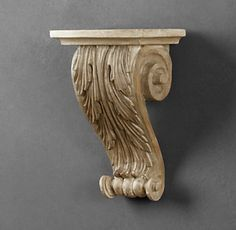 RH's Acanthus Scroll Corbel:Our classical corbel pairs a lavish scroll with a lush acanthus leaf, a motif that dates back to the Corinthian columns of ancient Greece. The hand-carved wood has a natural finish that highlights its intricate level of detail.