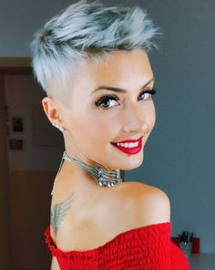 Short Half-Shaved Gray Hairstyle short hair 60 Cute Short Pixie Haircuts – Femininity and Practicality Very Short Pixie Cuts, Short Layered Haircuts, Short Hair Cuts, Best Pixie Cuts, Really Short Hair, Hairstyles Haircuts, Cool Hairstyles, Blonde Hairstyles, Short Gray Hairstyles