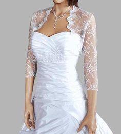 Bridal Bolero Lace Wedding Shrug Bridal Cover Up Wrap 3/4 Bracelet Length Sleeves Choice of White or Ivory Lace Made to Order UK S-XXXL