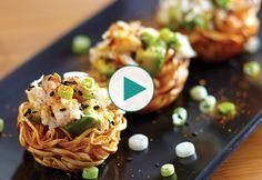 Sesame Shrimp and Crab Salad Noodle Nest Recipe