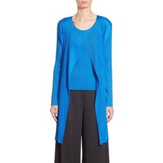 Pleats Please Issey Miyake Long Open-Front Cardigan ($450) ❤ liked on Polyvore featuring tops, cardigans, apparel & accessories, blue, long open cardigan, long open front cardigan, blue cardigan, long sleeve tops e long sleeve open front cardigan