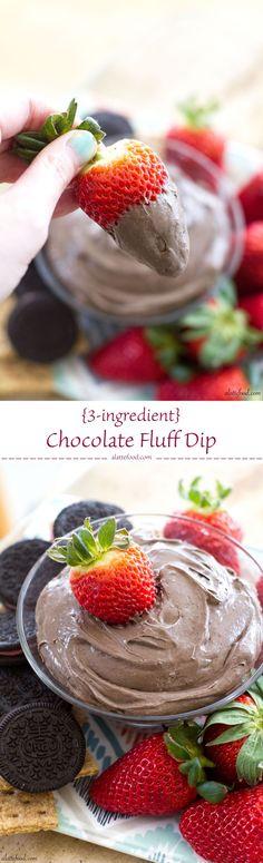 {3-ingredient} Chocolate Fluff Dip | A Latte Food