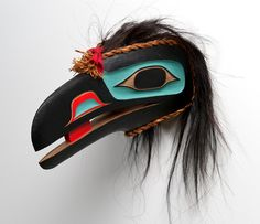 Raven Mask by Beau Dick: The Kwakwaka'wakw are an indigenous group of First Nations peoples living on Vancouver Island, British Columbia. U'meith (the Raven) brought the moon, sun, fire, salmon and the tides. This mask is made of red cedar. Arte Inuit, Inuit Art, Native American Masks, Native American History, Native Art, Native Indian, Raven Mask, Art Premier, Into The West