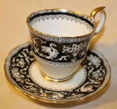 Crown Staffordshire Ellesmere Black Pattern Tea Cup & Saucer