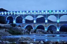 Spectacle lumière sur le pont du Gard