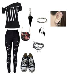 """""""goth love"""" by cscheaf2020 ❤ liked on Polyvore featuring WithChic, Converse, BlackMoon and Otis Jaxon"""