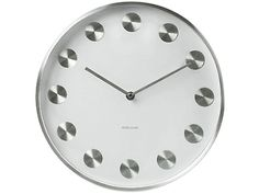 Wall Clock Rotation Brush Steel White