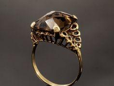 Vintage Smokey Quartz Ring in 9k Gold from by BelmontandBellamy