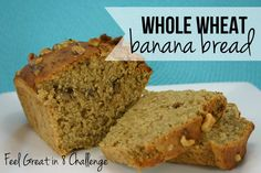 Healthy Whole Wheat Banana Bread - This healthy banana bread is moist, delicious, and made with greek yogurt, honey, flaxseeds, and coconut oil!   Feel Great in 8 #healthy #recipe #bread