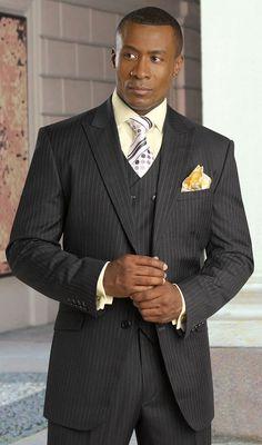 Tayion Suits Mens Herringbone 100% Wool 3 Piece 007-King