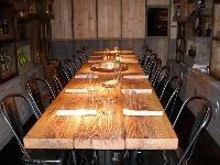 rustic wood tables metal chairs - Mijares - Pasadena CA Wood Table Rustic, Wood Tables, Farm Tables, Tequila Tasting, Beer Tasting, Private Room, Tasting Room, Metal Chairs, Bar Furniture