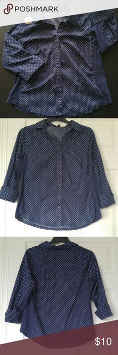 Cute Navy Collared Polka Dot Button-up * Adorable, comfortable collared shirt * 3/4 sleeves cuffed with button * Solid stretchy navy material on sides and under arms: very comfortable & breathable * Only worn a few times * 97% cotton * From a smoke-free and pet-free home Zac & Rachel Tops Button Down Shirts