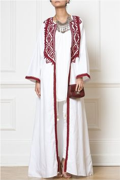 Maxi White Embellished Kimono - Elevate simple outfits with our Maxi White Embellished Kimono, embroidered with Afghan-inspired patterns in deep warm red colour. Modest Wear, Modest Dresses, Modest Outfits, Simple Outfits, Maxi Outfits, Abaya Fashion, Muslim Fashion, Modest Fashion, Fashion Dresses