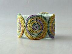 Handmade Knit and Crochet Fiber Art Circular Swirl Motif Cuff Bracelet