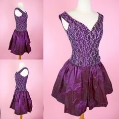 Purple & Silver Lace 80s Prom Dress // Vintage 1980s by RIPandROSE