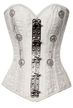 Brocade white steampunk corset silver beads #steamPUNK - ☮k☮