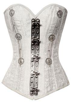 Brocade white steampunk corset silverbeads TS!