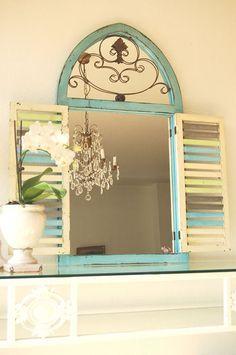 Lustro z okiennicami Prowansja MAISON Shabby Chic w ogrodyróżane-living na DaWanda.com