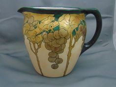 Jean Pouyat (JP) Limoges Arts & Crafts Gold Grape Design Pitcher (c.1903-1920)