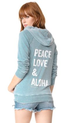 SPIRITUAL GANGSTER Peace Love & Aloha Dharma Zip Hoodie. #spiritualgangster #cloth #dress #top #shirt #sweater #skirt #beachwear #activewear
