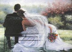 Forever Love Art Print, bride and groom, wedding couple, art, marriage, paintings, prints, Vickie Wade art
