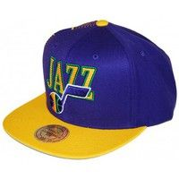 Casquettes Mitchell And Ness Snapback UTAH JAZZ Violet / Jaune gravure Laser