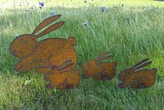 Bunny Garden Rusty Metal Art Easter Spring Bunny Family Plasma Cut By Hand by FoothillMetalArt on Etsy