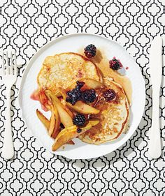 Buttermilk Pancakes With Pan-Roasted Pears and Blackberries | RealSimple.com