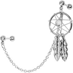 16 Gauge Clear Gem Inspire Dreamcatcher Cartilage Tragus Barbell Chain Earring   Body Candy Body Jewelry #bodycandy