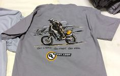 """""""Go Light. Go Fast. Go Far."""" Cotton T-Shirt by Giant Loop original motorcycle rally racer graphic illustration by Chuck Moser based on Jenny Dakar photo"""