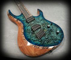 Kiesel Guitars Carvin Guitars AM6 (Aries Multiscale) translucent aquaburst over burl maple top on walnut body with Royal ebony fretbaord,