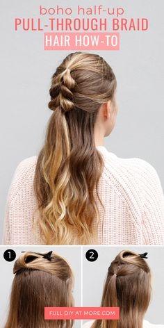This Double Twist Ponytail Is The Perfect Five Minute Hairstyle     You can DIY this half up hair  and the pull through braid is