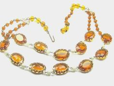 Double Strand Amber Glass Bead Necklace 1940s by OurBoudoir, $48.00