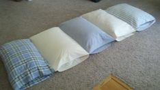 5 pillows, 5 pillow cases- instant fold up sleep mat/bed.