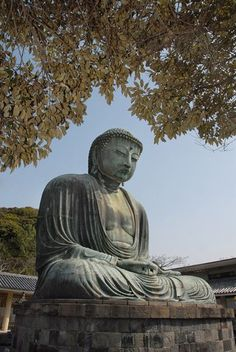 This bronze statue of the Great Buddha was cast in the year 1252 and is located in Kamakura, Japan.