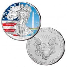 "USA Silver Eagle 2015, 999er Silber, 31,1 Gramm (1oz), Ø 40,60 mm, mit Farbapplikation ""Washington Monument"", Auflage: 5.000"