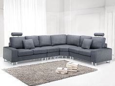 Fantastic modern sofas from Beliani. The Stockholm is a corner sectional upholstered sofa, shown here in grey. Gorgeous!