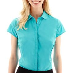 <p>For any professional occasion, dress up in our short-sleeve shirt designed with a hidden button-front placket.</p><ul><li>cotton/polyester/spandex</li><li>washable</li><li>imported</li></ul>