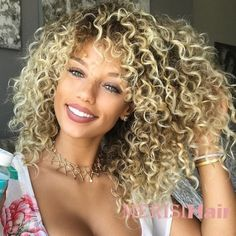 Synthetic Wig Afro / Kinky Curly Shakira Style Bob Capless Wig Blonde Blonde Synthetic Hair Women's Side Part / African American Wig Blonde Wig Cosplay Wig Short Curly Wigs, Kinky Curly Wigs, Human Hair Wigs, Curly Afro, Curly Braids, Afro Wigs, Curly Bob, Curly Ponytail, Curly Hair Styles