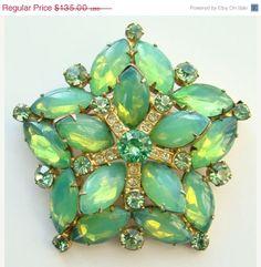 May Sale Vintage Snowflake Opaque Green Cabochon Navette Rhinestone Brooch