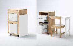 Expand Furniture's Ludovico filing cabinet becomes a tidy workspace with a foldout desk and a chair hidden between the three surprisingly spacious drawers. Courtesy of Expanded Furniture.