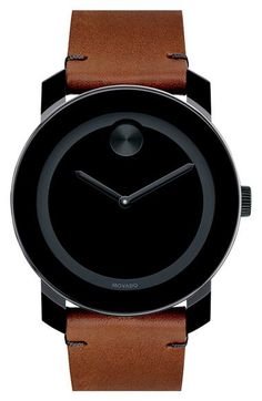 Movado with brown strap. Fresh combination.