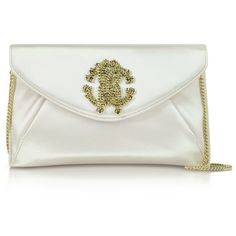 Roberto Cavalli RC Silk Clutch ($640) ❤ liked on Polyvore featuring bags, handbags, clutches, champagne, silk evening bag, evening handbags, evening hand bags, chain handle handbags and roberto cavalli