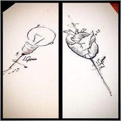 Razão e emoção | Esboços • #heart #light #estudo #esboço #sketch #tattoo #tatuagem #abstract #lcjunior #watercolor #aquarela