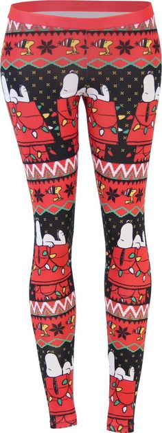 Snoopy House Ugly Christmas Pattern Red Leggings (Juniors XX-Large)