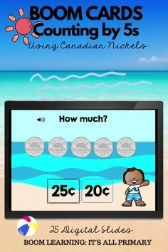 When students can skip-count by 5s, counting nickels is so much easier. This deck gives students the opportunity to practice both skills. There are 3 types of questions: multiple choice, fill-in-the-blank, and drag the nickels into the sandcastle. Boom Cards are perfect for online or in the class learning. Incorporate them into your math centres, or use them as whole instruction. No Prep, Self-Grading.
